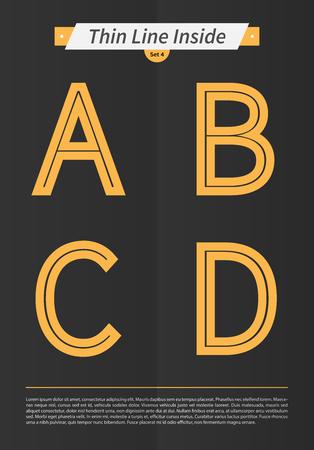 内側と最低限のラインとセットで表記のアルファベット EPS10 ベクトル設定 4 A B C D 文字をデザインします。 写真素材 - 51756322