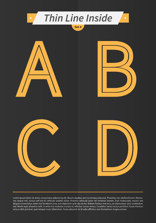Typographic alphabet in a set with line inside and minimal design  EPS10 Vector  Set 4  A B C D letters