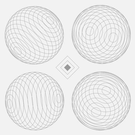 Decorative Sphere Elements Set 4 white  EPS10 Vector Иллюстрация