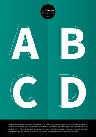 押し出しの細い線とミニマルなデザイン EPS10 ベクトル設定 4 A B C D 文字セットで表記のアルファベット  イラスト・ベクター素材