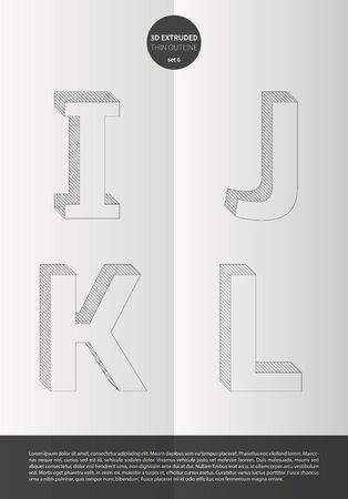 Typographic alphabet in a set with vibrant colors and minimal design  EPS10 Vector  Set 6  I J K L letters