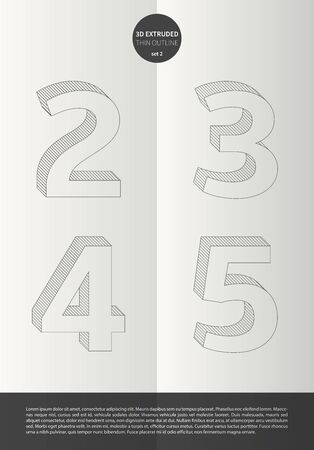 3 4: Typographic alphabet in a set with vibrant colors and minimal design  EPS10 Vector  Set 2  2 3 4 5 letters