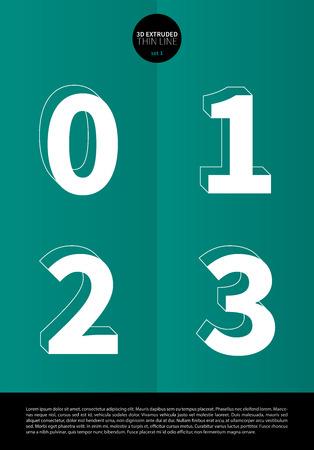 押し出しの細い線とミニマルなデザイン EPS10 ベクトル セット 1 0 1 2 3 文字セットで表記のアルファベット