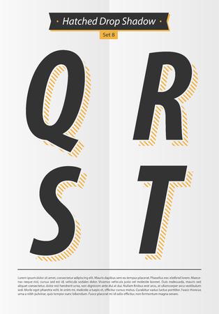 表記のアルファベット入り Hatched EPS10 ベクトルを設定 8 文字 QRST のミニマルなデザインと影の中