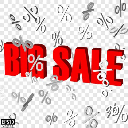 Isolated Big sale word with falling percent signs EPS10 Vector