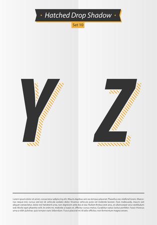 シャドウとミニマルなデザイン EPS10 ベクトル設定 10 文字 YZ Hatched セット表記のアルファベット  イラスト・ベクター素材