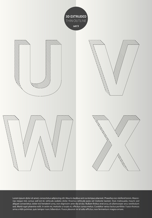 Typographic alphabet in the set with vibrant colors and minimal design EPS10 Vector Set 9 letters UVWX