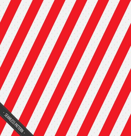 Seamless Wrapping Paper Pattern. Red and White Slanting Lines Vector EPS10 Ilustração
