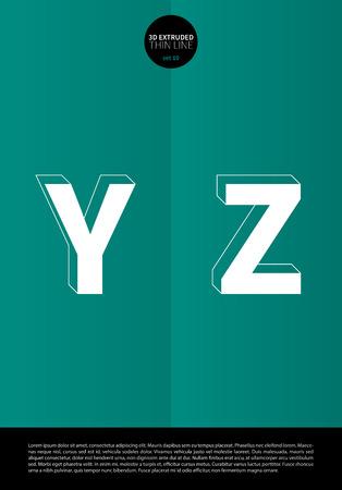 細い線とミニマルなデザイン EPS10 ベクトル設定 10 文字 YZ の押し出しに設定表記のアルファベット  イラスト・ベクター素材