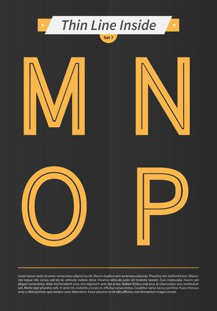 中には表記のアルファベット行し、MNOP の手紙 EPS10 ベクトル設定 7 のミニマルなデザインと設定