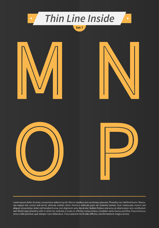 Typographic alphabet in the inside line and set with minimal design EPS10 Vector Set of 7 letters MNOP