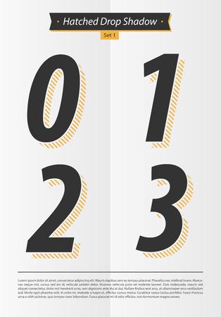 表記アルファベット Hatched 影の設定と最小限のデザイン EPS10 ベクトル セット 1 0 1 2 3 文字  イラスト・ベクター素材