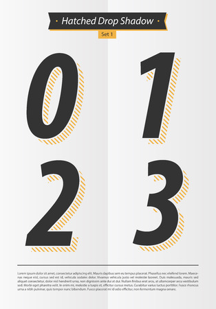 2 0: Typographic alphabet set with Hatched in the shadow and minimal design EPS10 Vector Set 1 0 1 2 3 letters