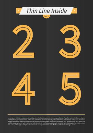 中には表記のアルファベット行し、ミニマルなデザイン EPS10 ベクトル セット 2 2 3 4 5 文字を設定