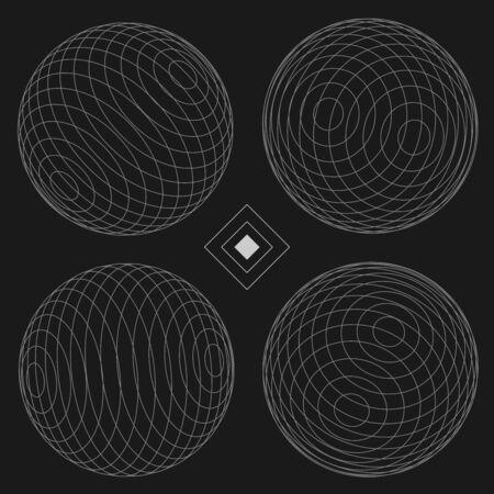 new path: Sphere Decorative Elements Set of 4 black EPS10 Vector