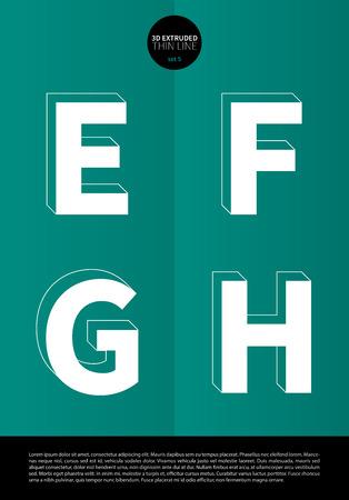 細い線とミニマルなデザイン EPS10 ベクトル設定 5 文字 EFGH の押し出しに設定表記のアルファベット  イラスト・ベクター素材