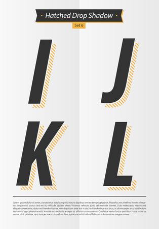 表記のアルファベット入り Hatched EPS10 ベクトル設定 6 文字 IJKL のミニマルなデザインと影の中