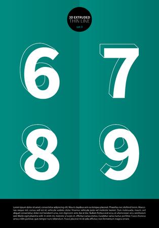 細い線とミニマルなデザイン EPS10 ベクトル セット 3 6 7 8 9 文字の押し出しに設定表記のアルファベット  イラスト・ベクター素材