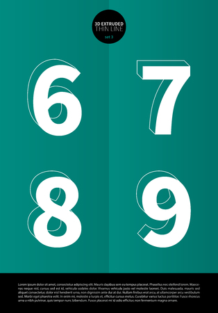 6 7: Typographic alphabet set with extruded in a thin line and minimal design EPS10 Vector Set 3 6 7 8 9 letters Illustration