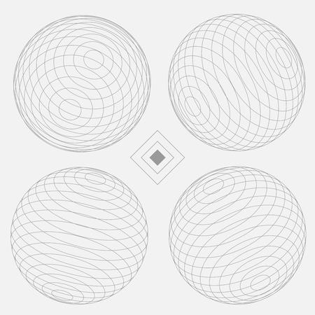 球の装飾的な要素を設定 4 白 EPS10 ベクトル  イラスト・ベクター素材