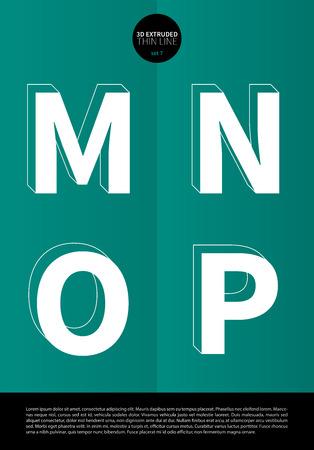 細い線と EPS10 ベクトル設定 7 文字 MNOP のミニマルなデザインの押し出しに設定表記のアルファベット