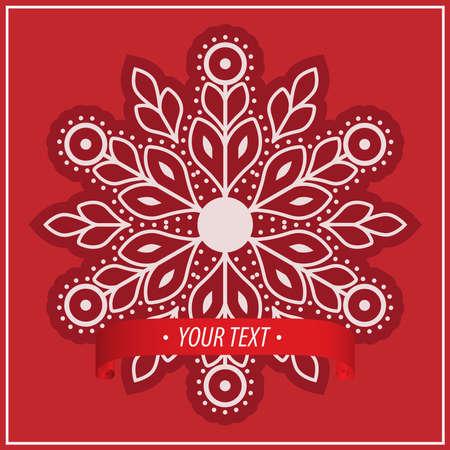 Snowflake with Ribbon Vector EPS10