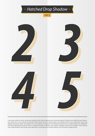 表記アルファベット Hatched 影の設定と最小限のデザイン EPS10 ベクトル セット 2 2 3 4 5 文字
