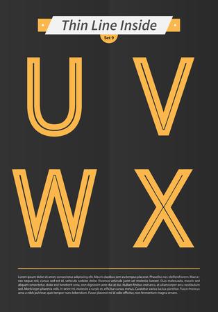 中には表記のアルファベット行し、ミニマルなデザイン EPS10 ベクトル設定 9 文字 UVWX で設定
