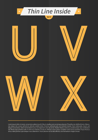 Typographic alphabet in the inside line and set with minimal design EPS10 Vector Set 9 letters UVWX Иллюстрация