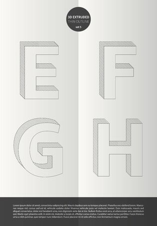 Typographic alphabet in the set with vibrant colors and minimal design EPS10 Vector Set 5 letters EFGH