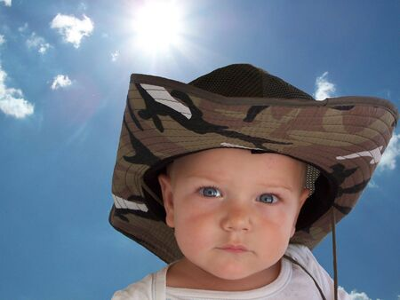 an adorable baby wearing a cowboy style hat Stock Photo - 748300