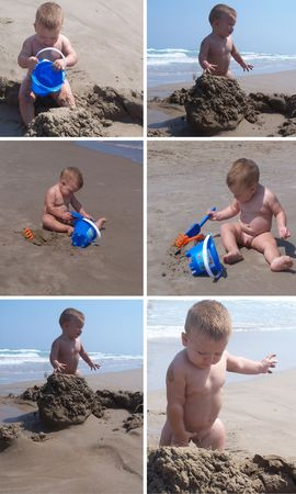 darling: Collage with baby playing with the sand on the beach Stock Photo