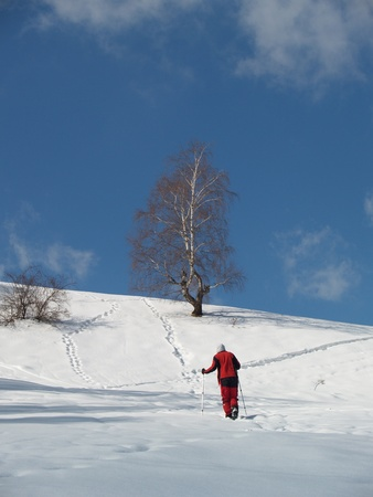Young climber in Carpathian Mountains in winter photo