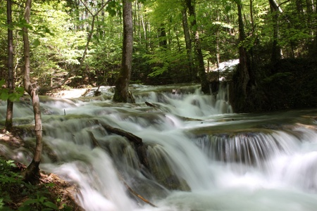 the cascade: hermosa ca�da de agua durante la primavera en las monta�as Foto de archivo