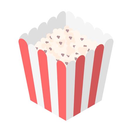 Vector flat isometric popcorn red pack cinema food Illustration