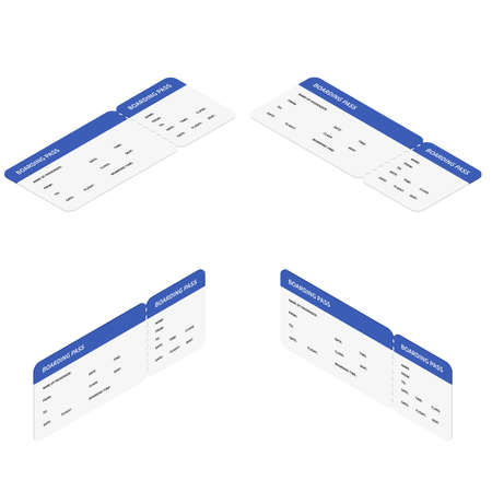 Vector flat isometric airline boarding pass ticket travel set Illustration