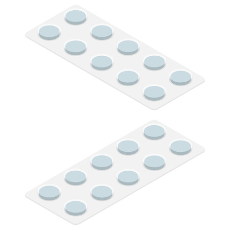 Vector isometric medical pills blister, pharmacy for healthcare