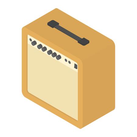 Vector isometric guitar amplifier orange retro musical equipment
