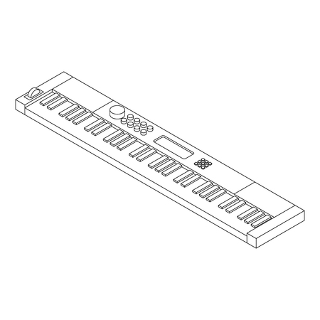 Vector isometric piano synthesizer outline retro musical equipment