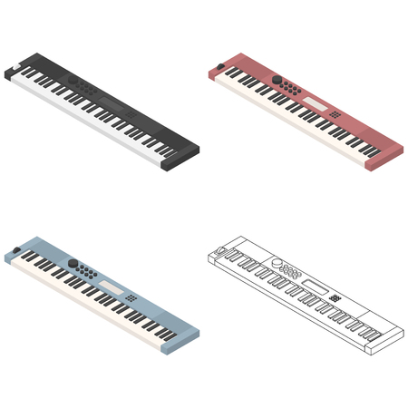 Vector isometric piano synthesizer retro musical equipment four set