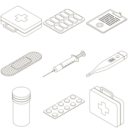 Vector isometric medicine first aid kit pharmacy outline set