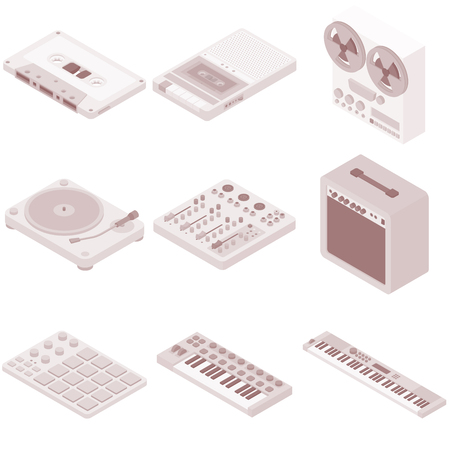 Vector isometric music recording and playing equipment set