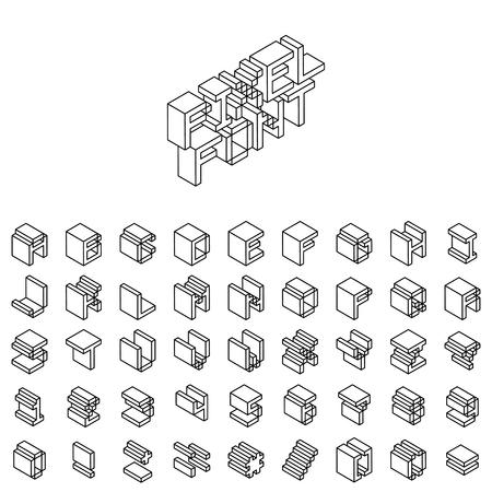 Vector isometric retro game industry 80s 90s pixel geek font
