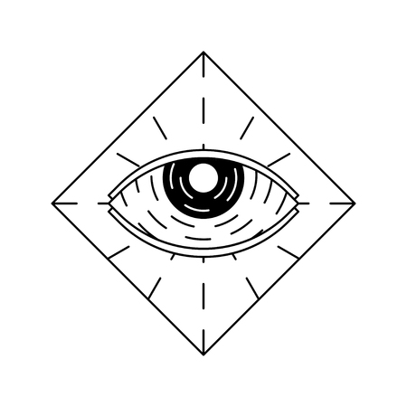 Linework and blackwork tattoo flash sketch. All seeing eye inside diamond. Illustration