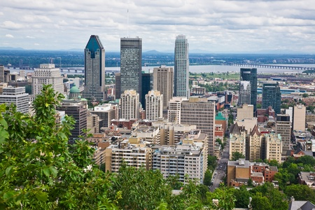 View of Montreal City from the top of Mount Royal, Quebec, Canada photo