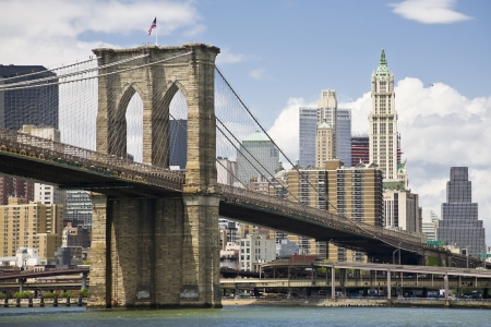 View of Brooklyn bridge and Manhattan from the East river photo