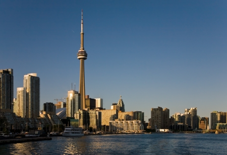 Toronto harbor front in a sunset light photo