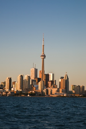 Downtown Toronto in a sunset light as seen from the lake Ontario Stock Photo - 18455088