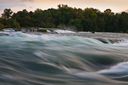 niagara falls city: Niagara river after sunset Stock Photo
