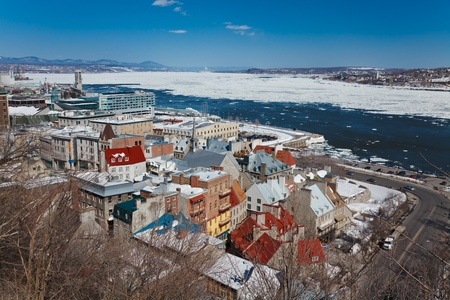 lawrence: Winter panorama of Quebec City and St.Lawrence river